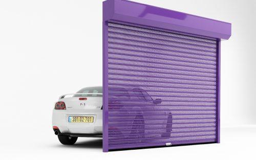 סורגי גלילה בכניסה לחניית מחירים שער הרמה לבניין פרטי מעוצב